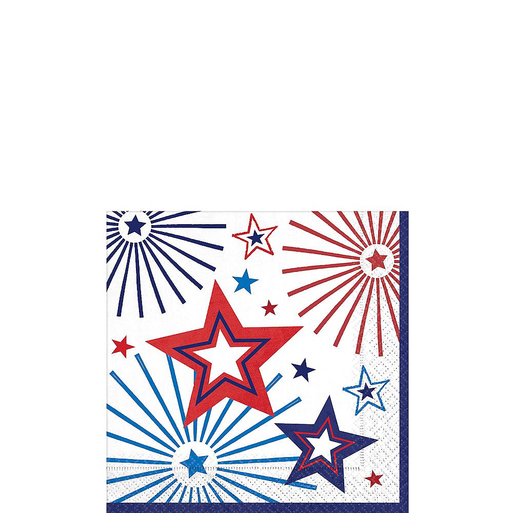 Patriotic Red, White & Blue Stars Beverage Napkins 36ct Image #1