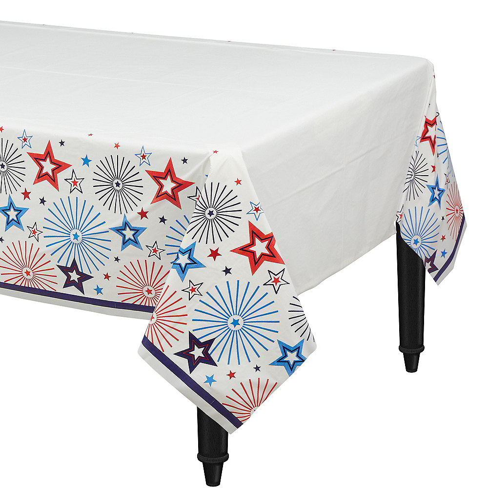 Patriotic Red, White & Blue Stars Table Cover Image #1