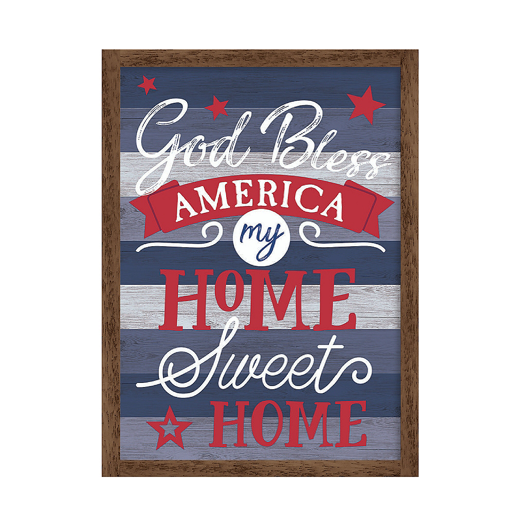 Patriotic Red, White & Blue God Bless America Sign Image #1