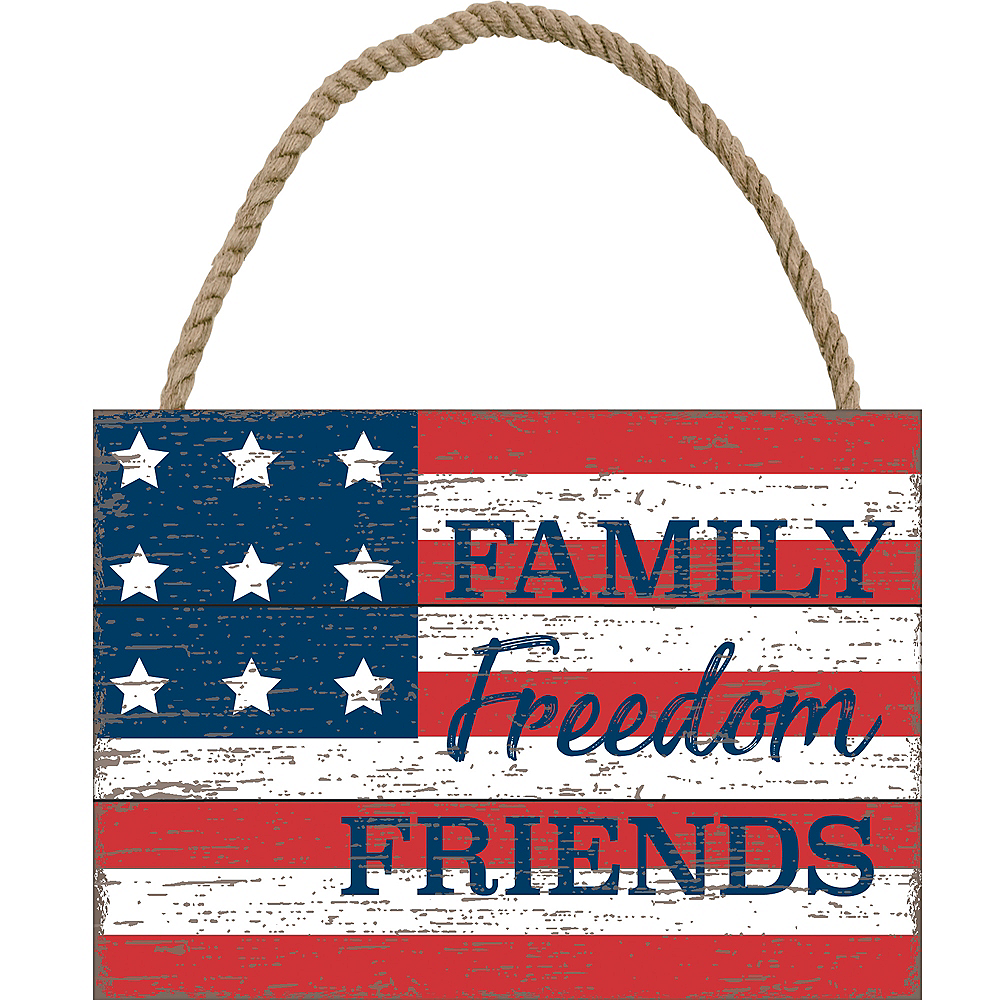 Family Freedom Friends American Flag Sign Image #1