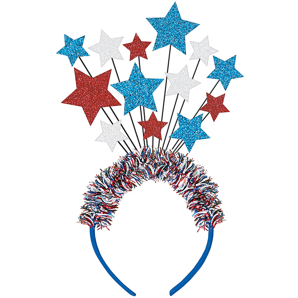 Glitter Patriotic Red, White & Blue Star Headband Image #1