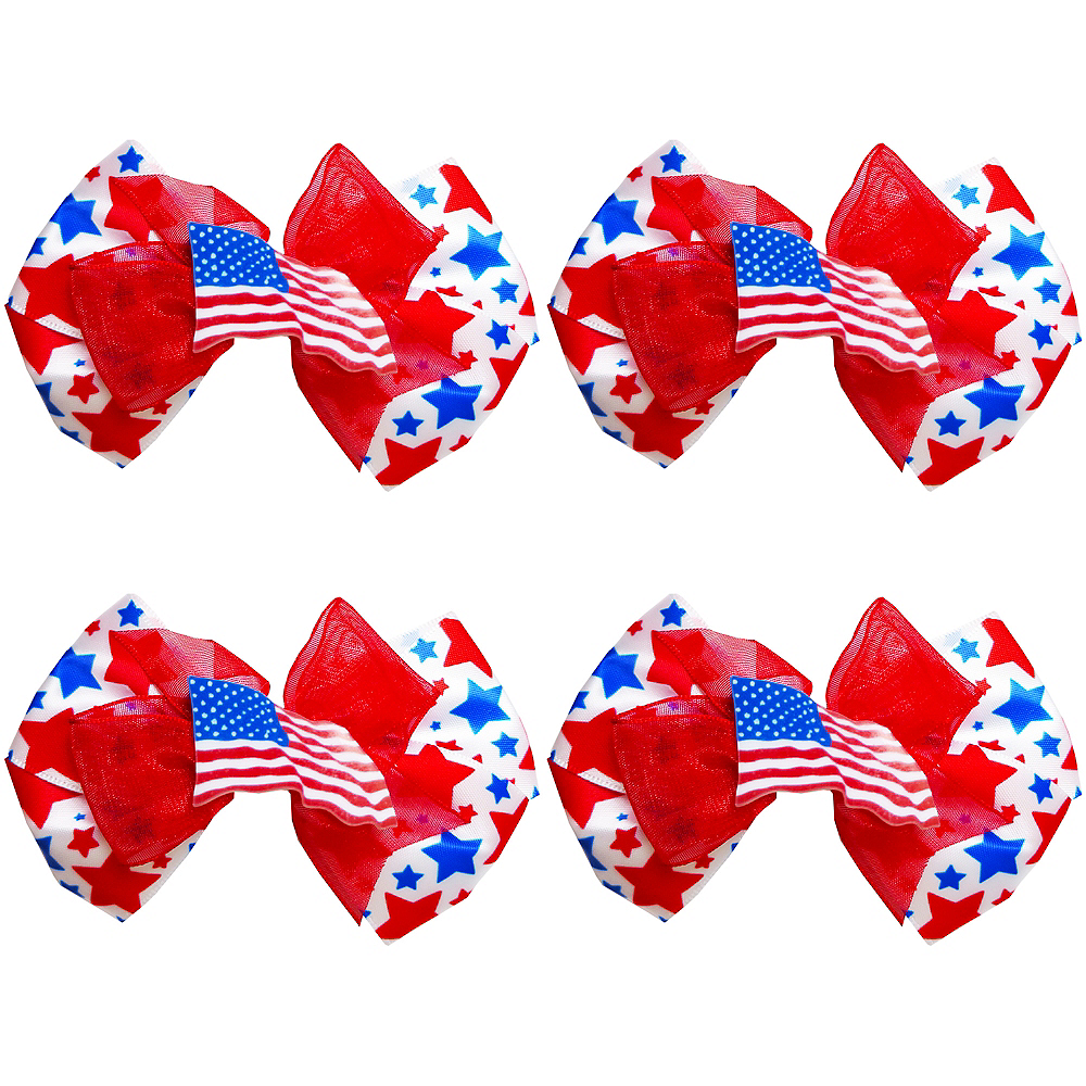 Clip-On Patriotic Red, White & Blue Star Bow Image #1