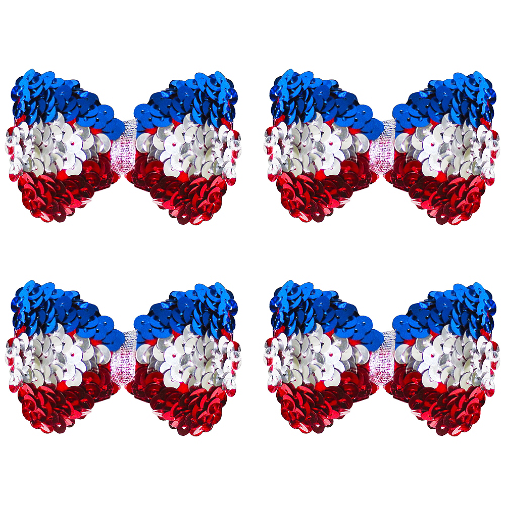 Clip-On Sequin Red, White & Blue Bow Image #1