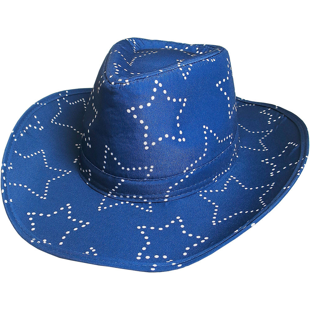 e501ac332b9d8e Blue Bedazzled Star Cowboy Hat 13 3/4in x 15 1/2in | Party City