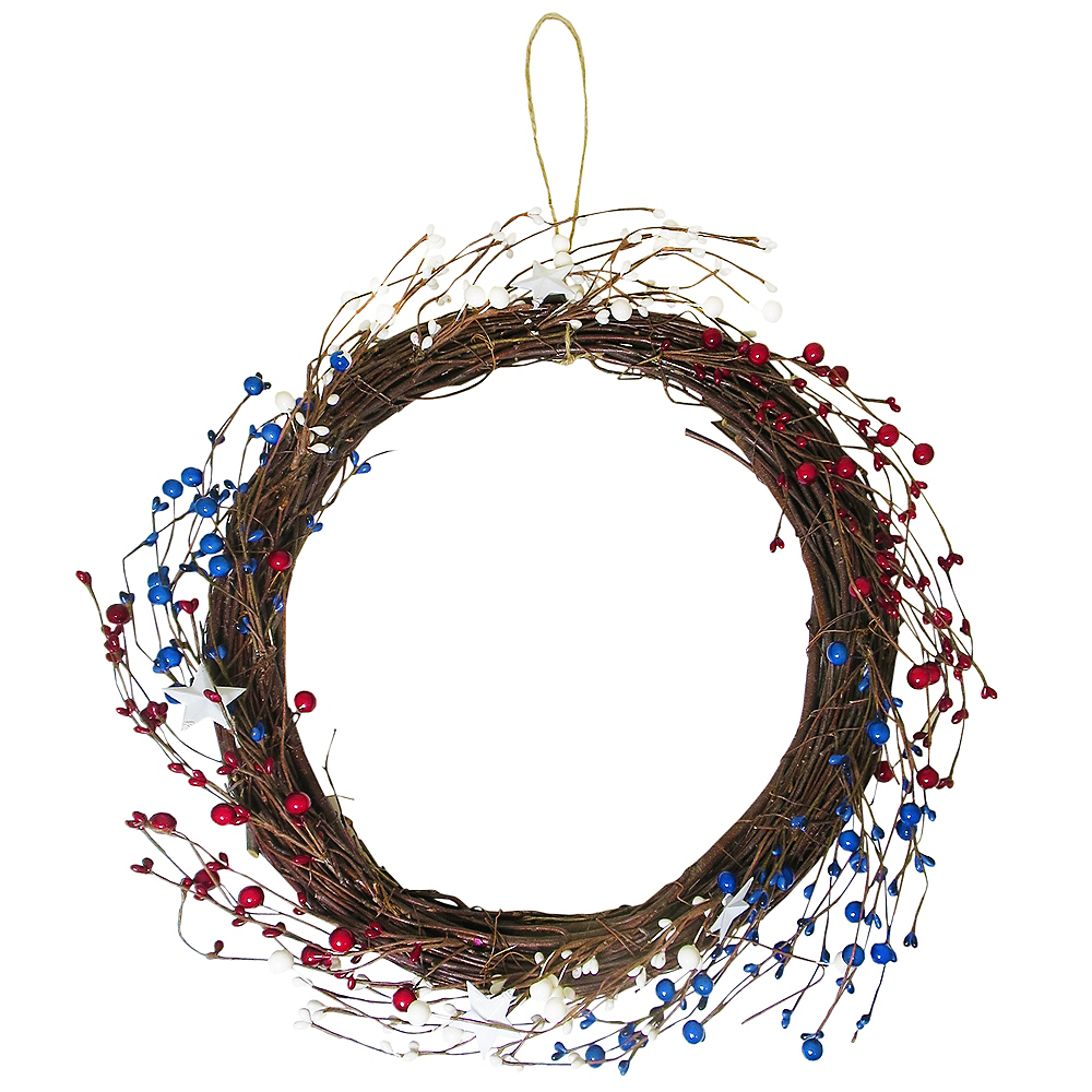Red, White & Blue Bead & Star Wreath Image #1