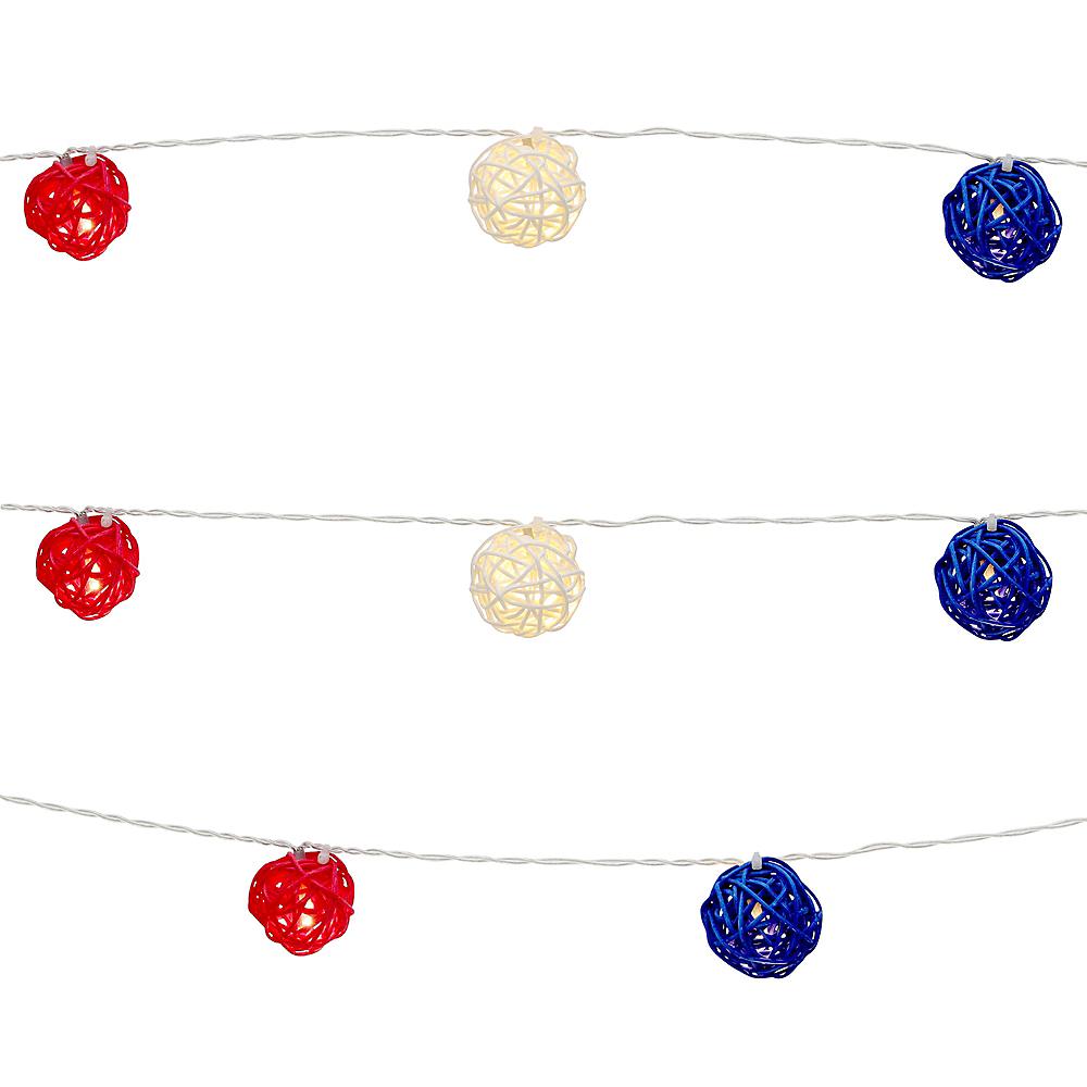 Red, White & Blue Rattan Ball LED String Lights Image #1