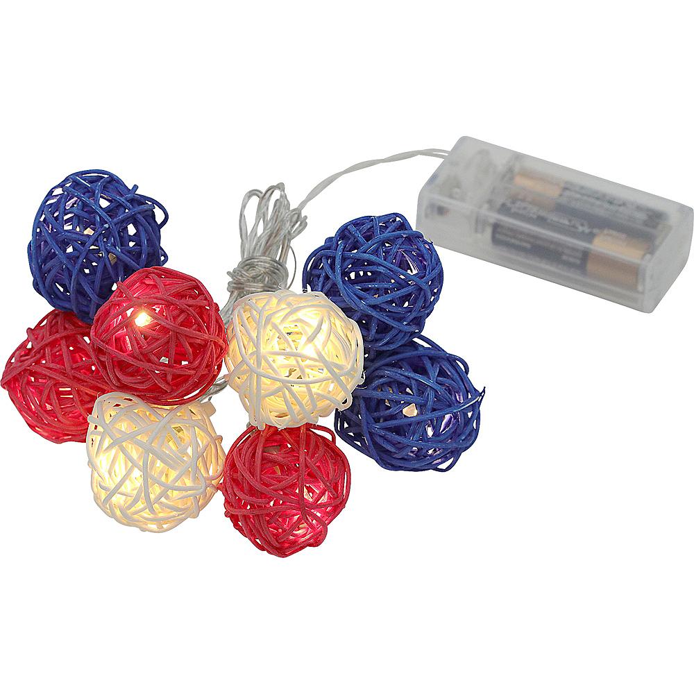 Red, White & Blue Rattan Ball LED String Lights Image #2