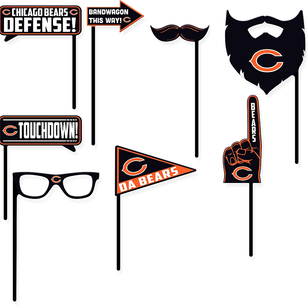 Chicago Bears Photo Booth Props 9ct Image #1