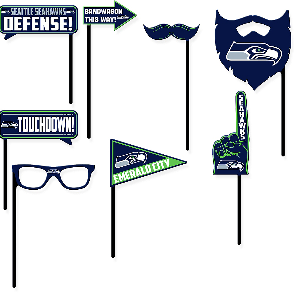 Seattle Seahawks Photo Booth Props 9ct Image #1