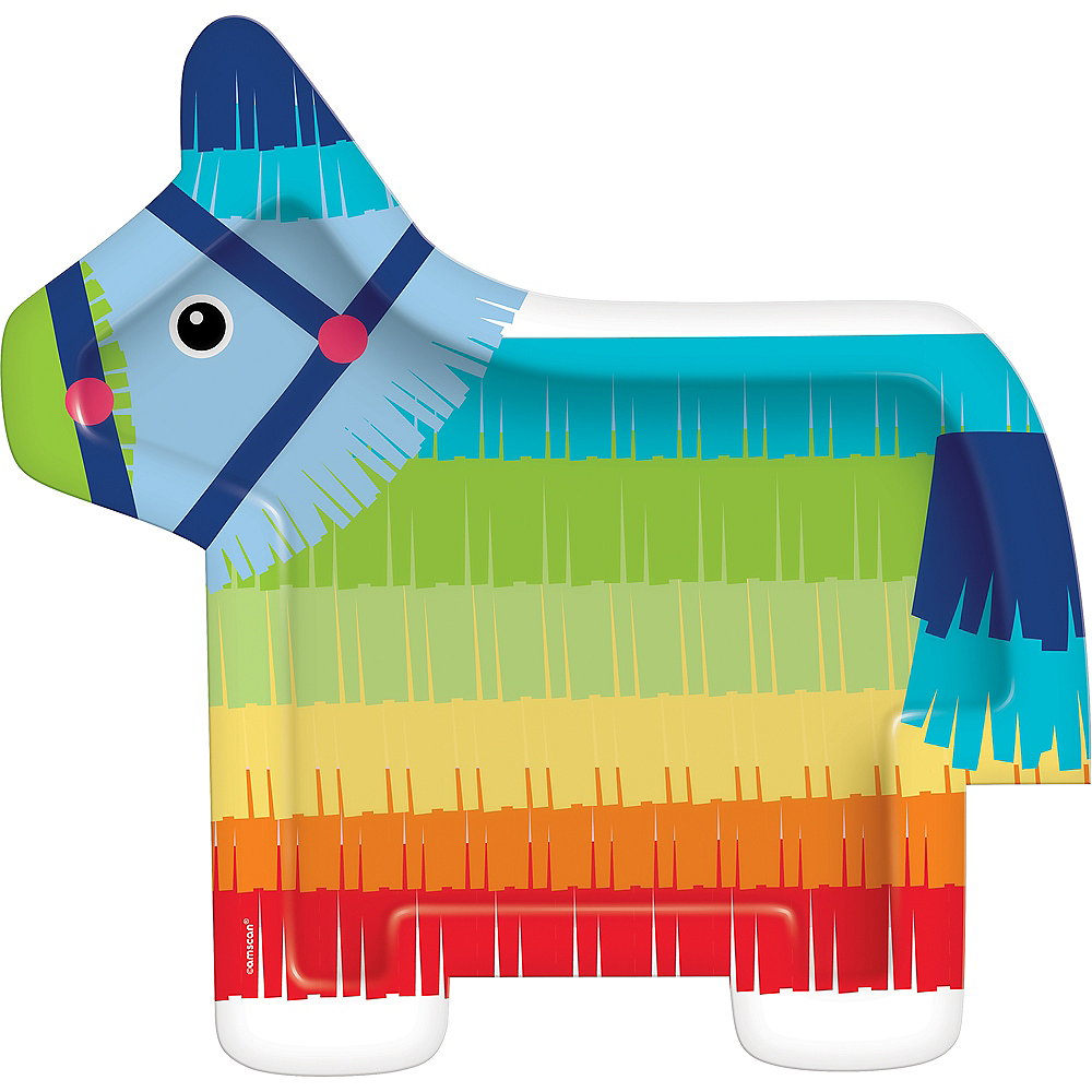 Shaped Rainbow Donkey Pinata Dinner Plates 8ct Image #1