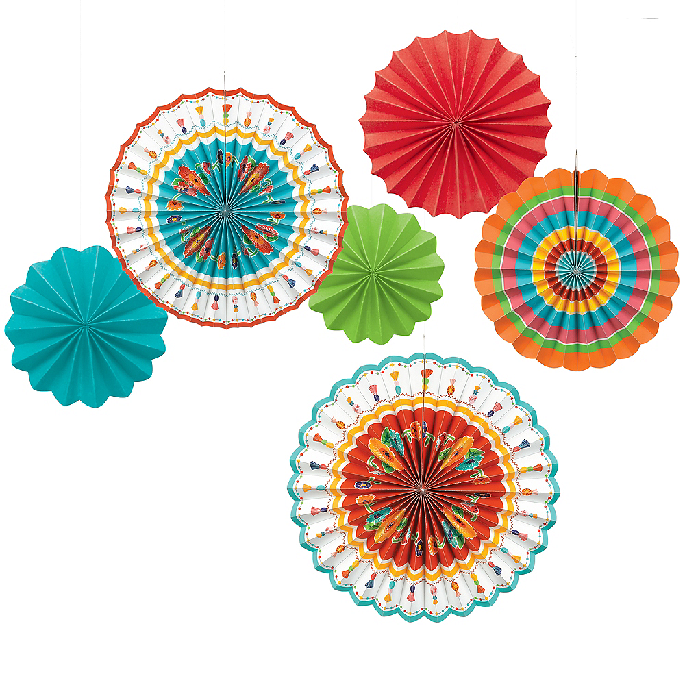 Fiesta Time Paper Fan Decorations 6ct Image #1