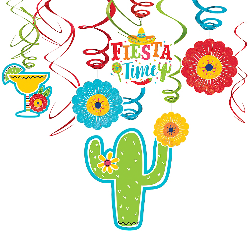 Fiesta Time Swirl Decorations 12ct Image #1