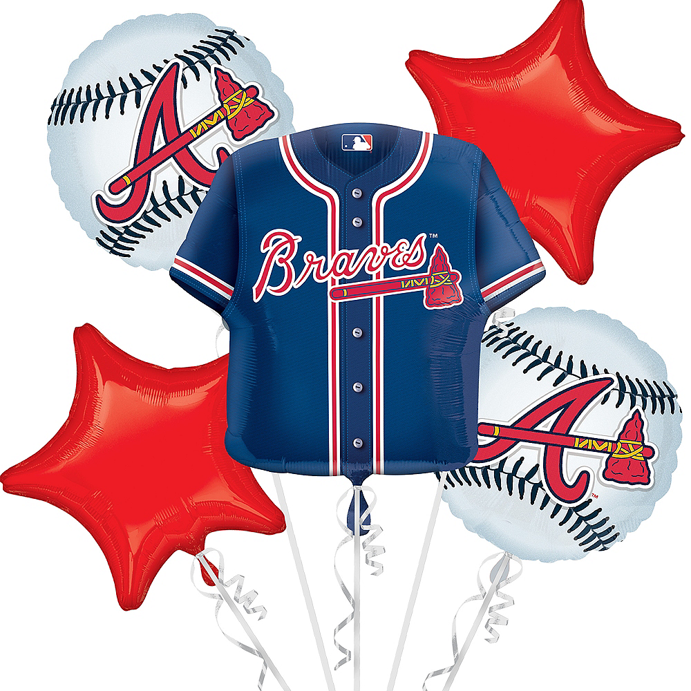 Nav Item for Atlanta Braves Balloon Bouquet 5pc - Jersey Image #1