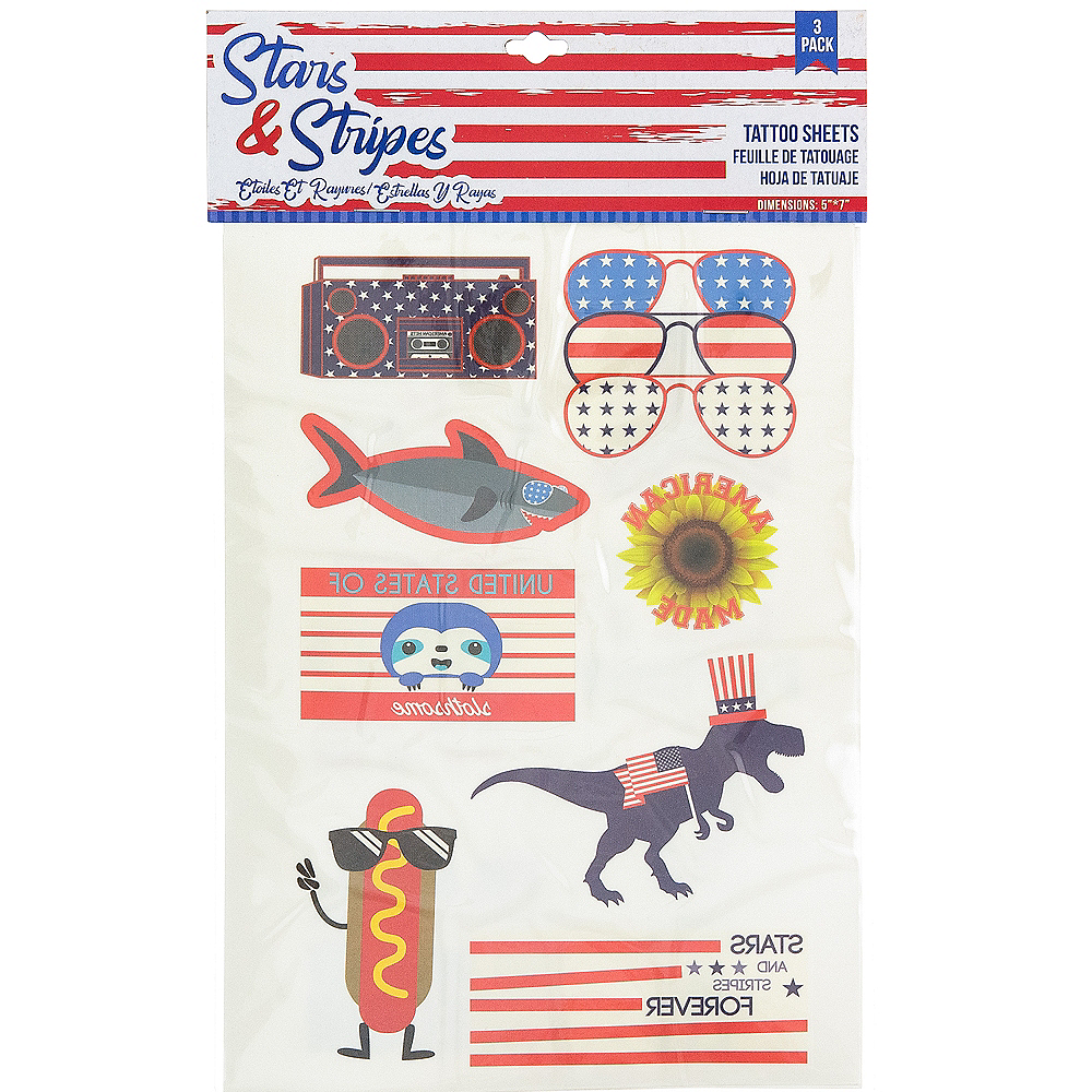 Patriotic Red, White & Blue Stars & Stripes Tattoos 3 Sheets Image #2