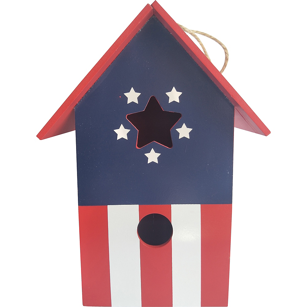 Nav Item for Patriotic American Flag Birdhouse Image #1