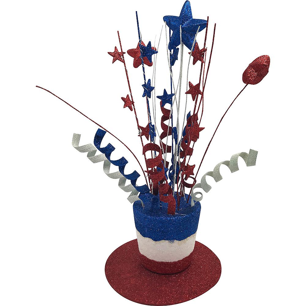 Glitter Patriotic Red, White & Blue Top Hat Centerpiece Image #1