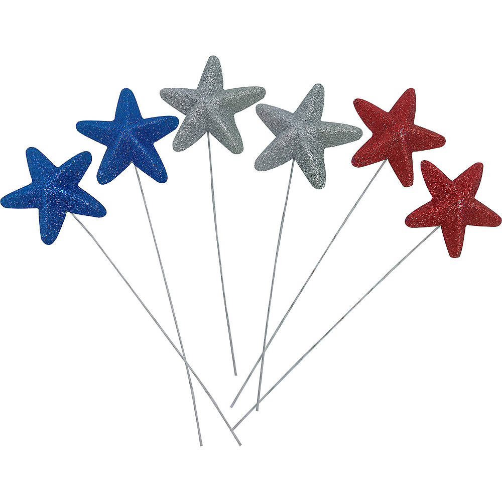 Glitter Red, White & Blue Star Picks 6ct Image #1