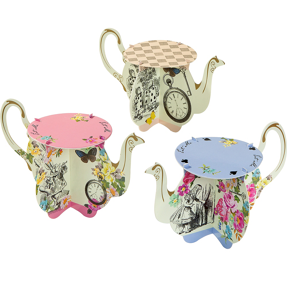 Alice in Wonderland Teapot Cake Stands 6ct Image #1