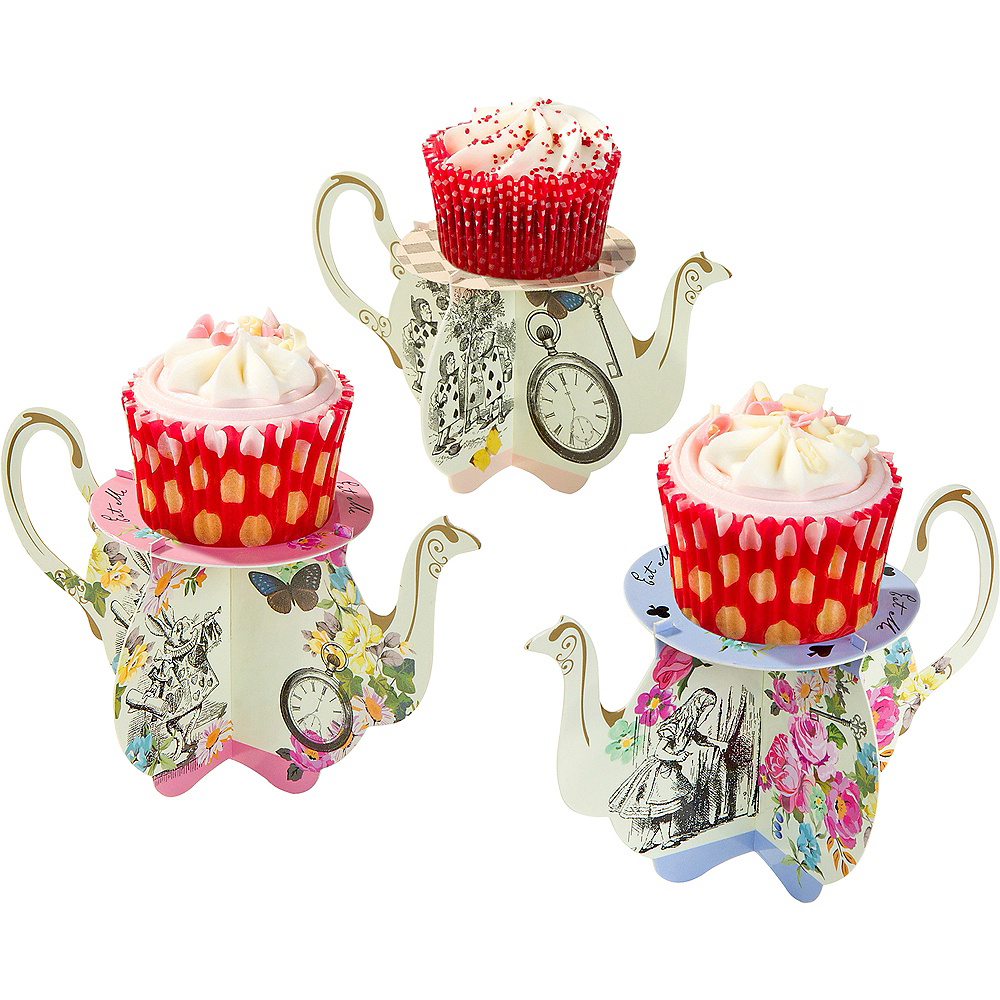 Alice In Wonderland Teapot Cake Stands 6ct