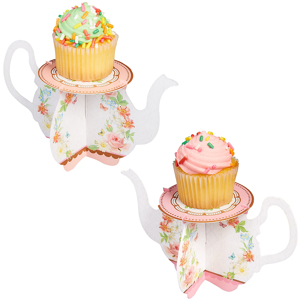 Floral Tea Party Teapot Cupcake Stands 6ct Image #1