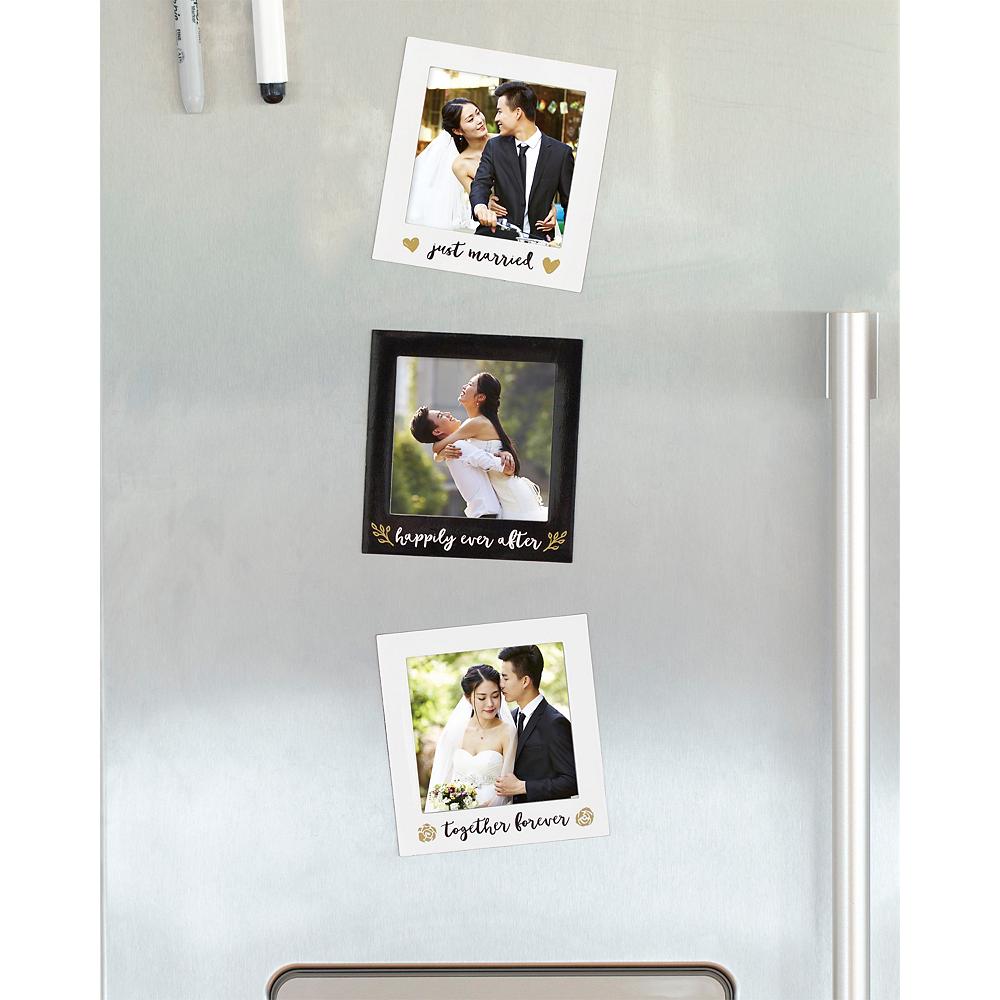Black & Gold Wedding Magnetic Photo Frames 3ct Image #2