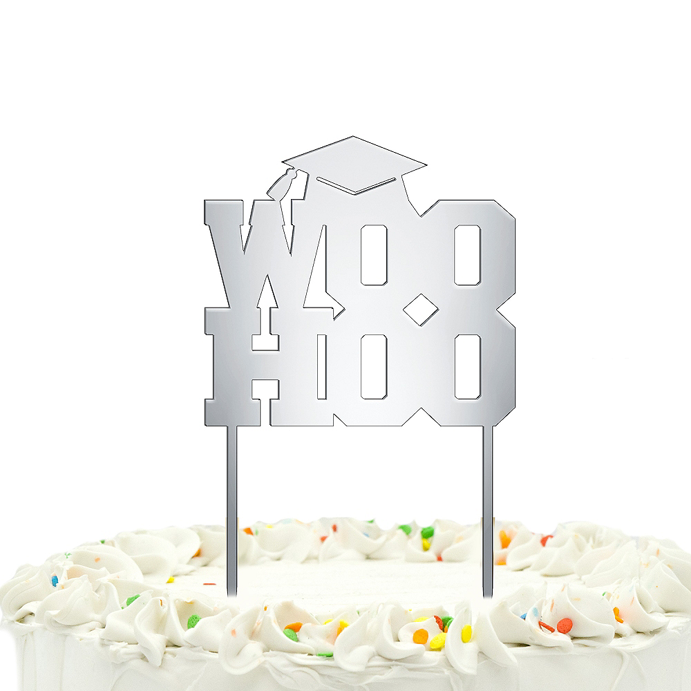 Mirrored Woohoo Graduation Cake Topper Image #1
