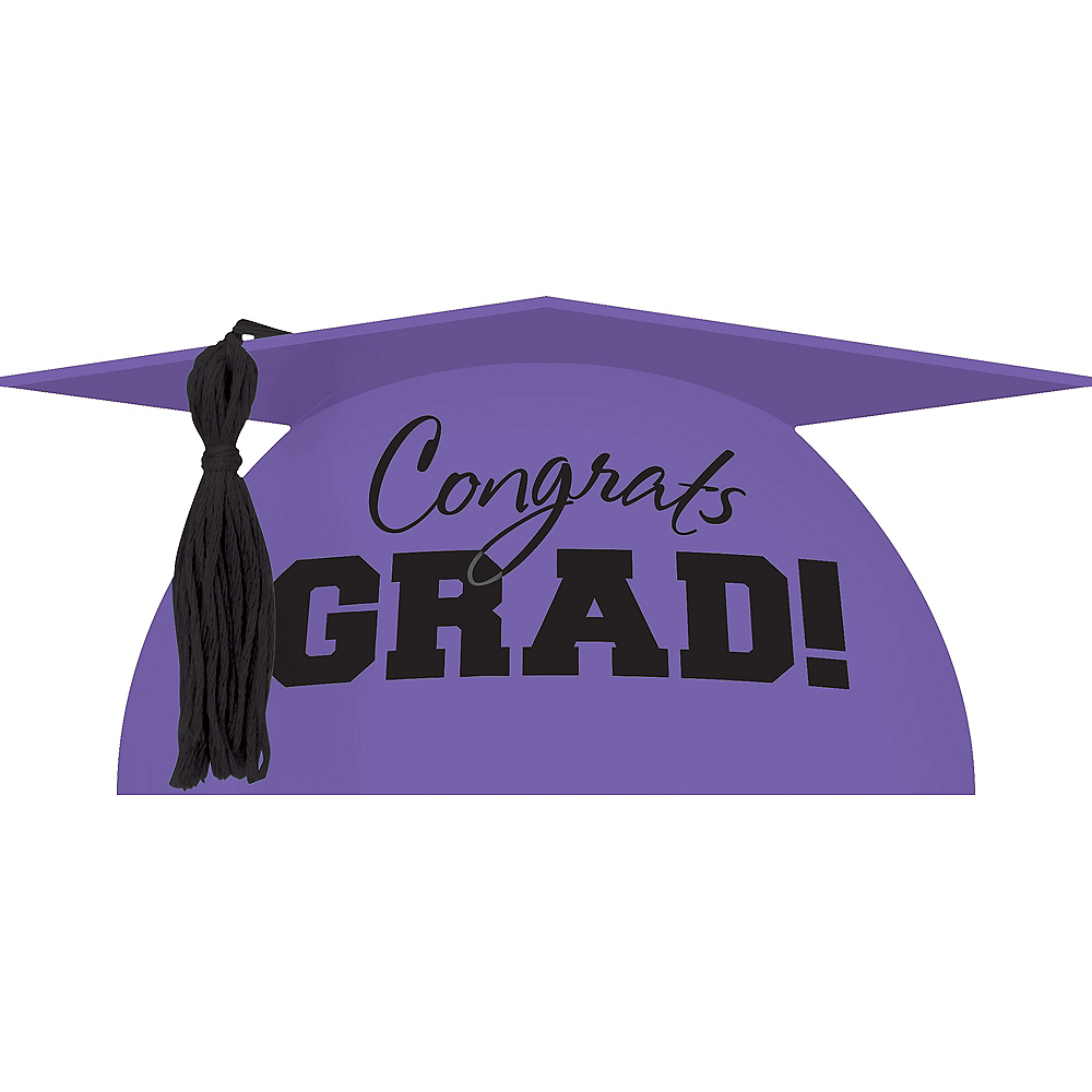 Purple Graduation Cap Cake Topper Image #1