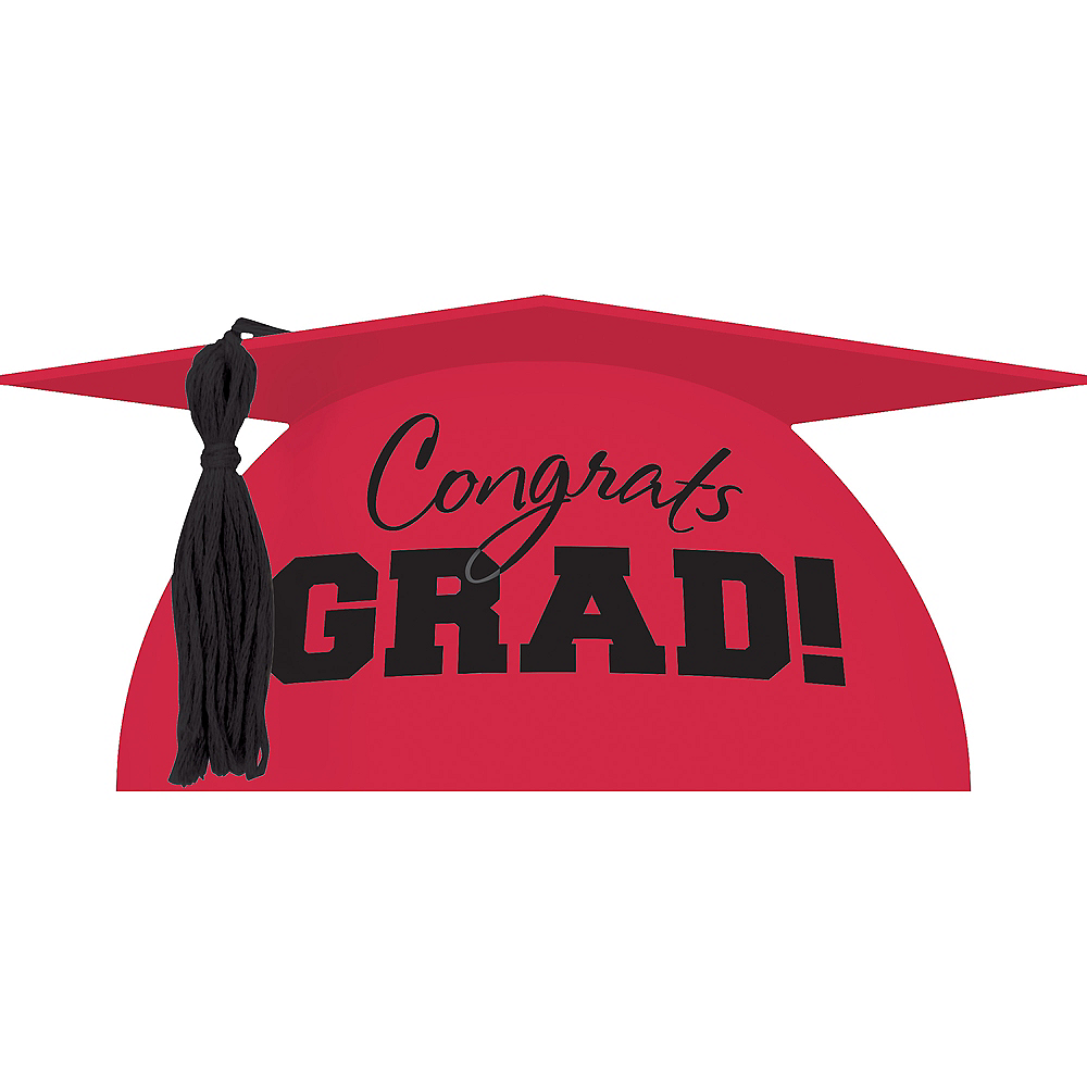 Red Graduation Cap Cake Topper Image #1