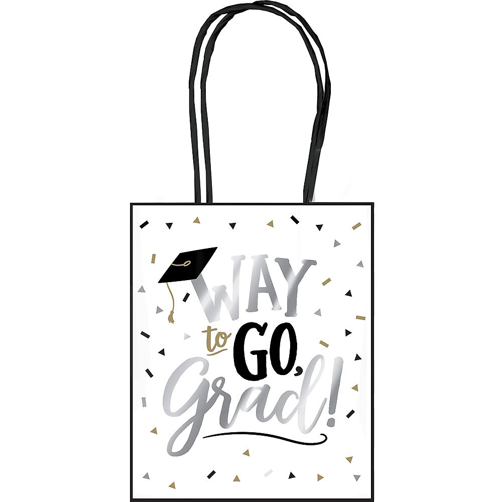 Black, Gold & Silver Graduation Kraft Bag Image #1