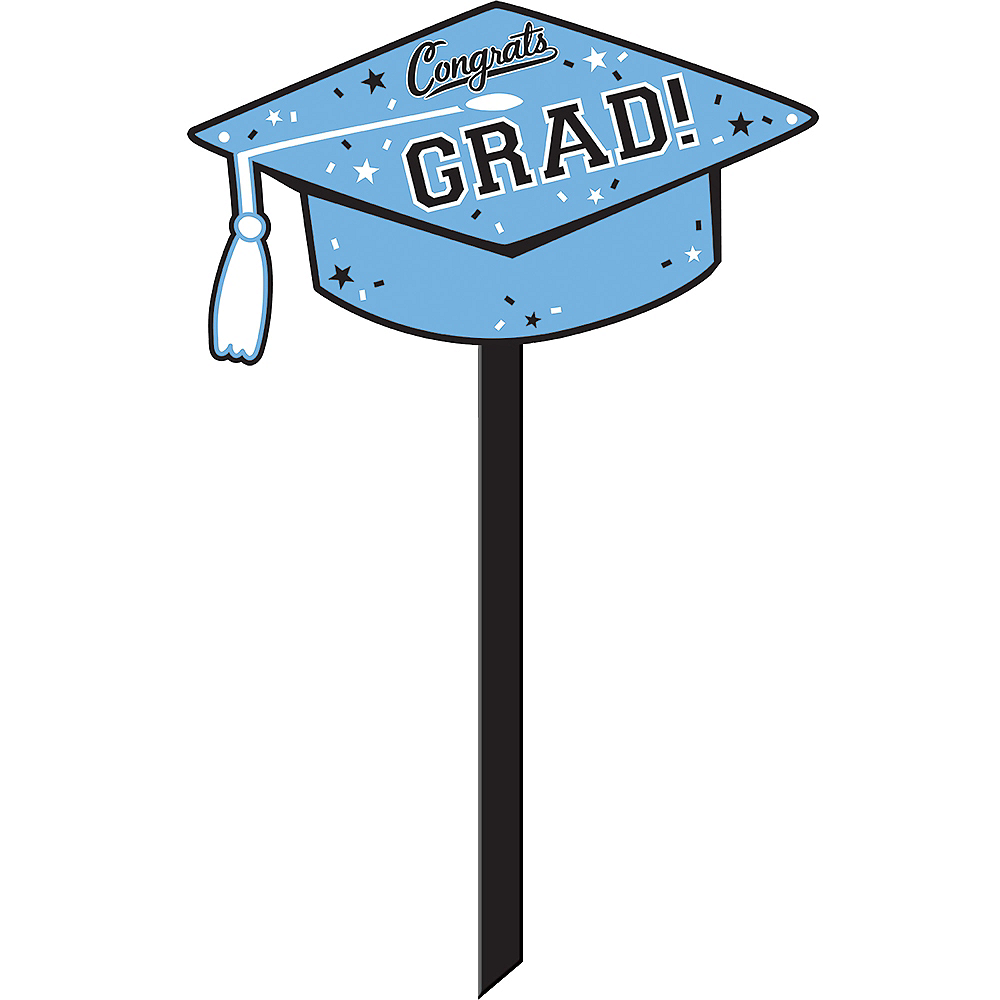 Powder Blue Congrats Grad Yard Sign Image #1