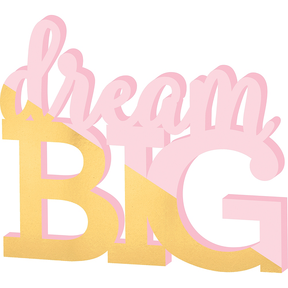 Gold & Pink Dream Big Block Letter Sign Image #1