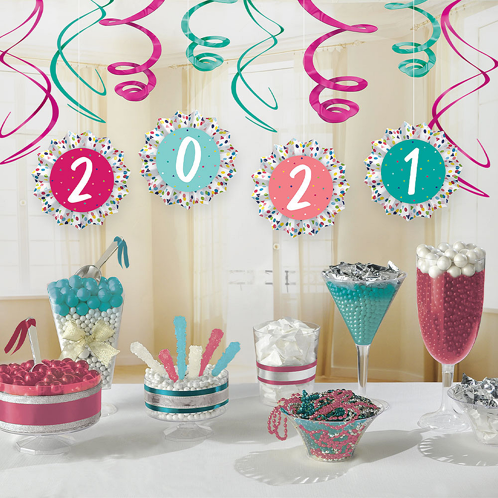 Yay Grad 2019 Paper Fan & Swirl Decorations 12pc Image #1