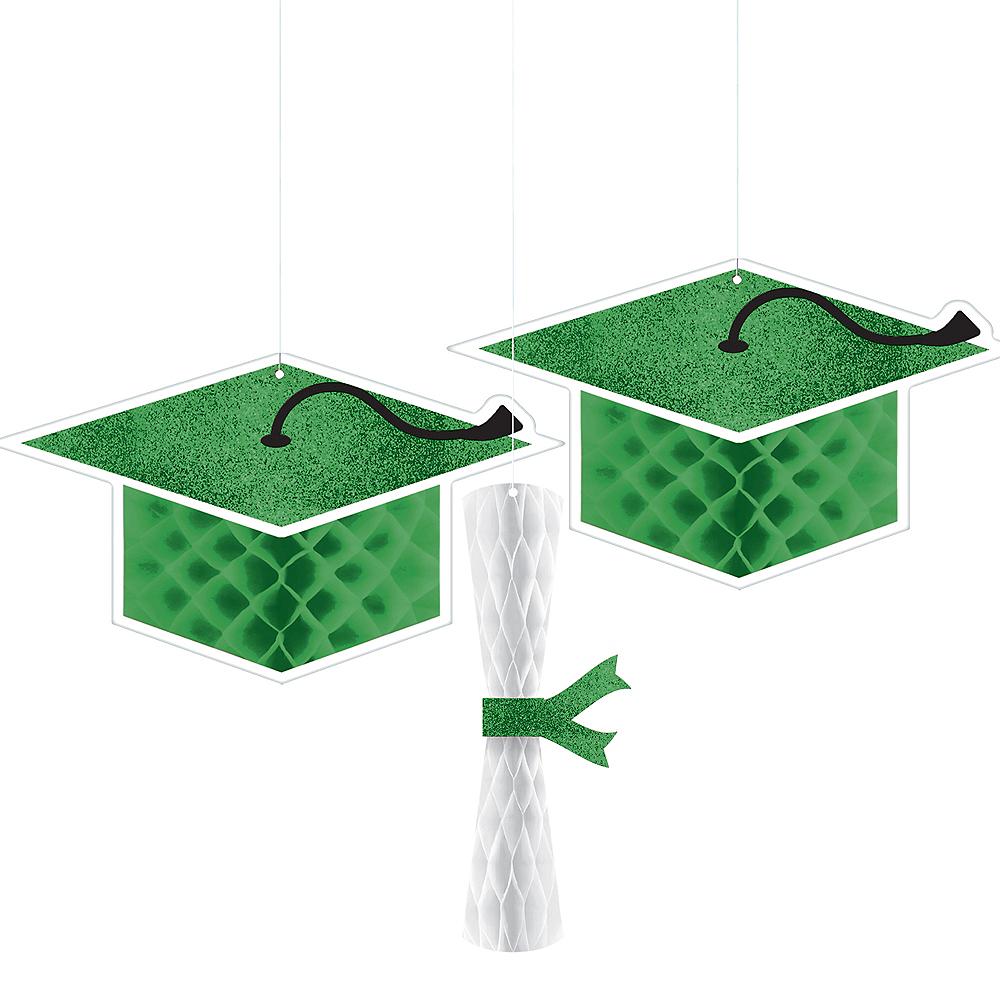 Glitter Green Graduation Honeycomb Decorations 3ct Image #1