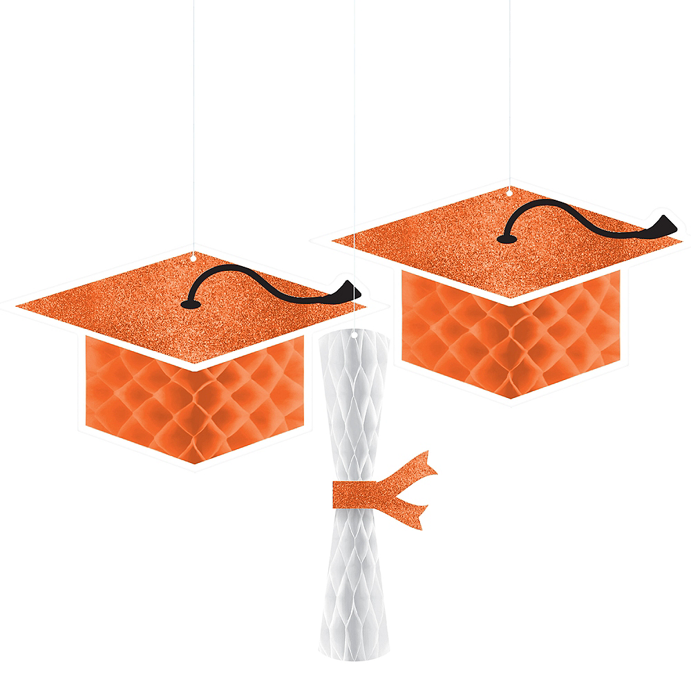 Glitter Orange Graduation Honeycomb Decorations 3ct Image #1