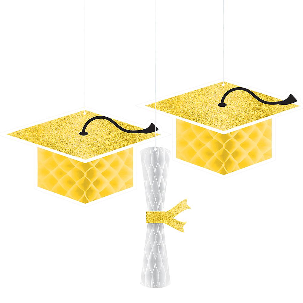 Glitter Yellow Graduation Honeycomb Decorations 3ct Image #1