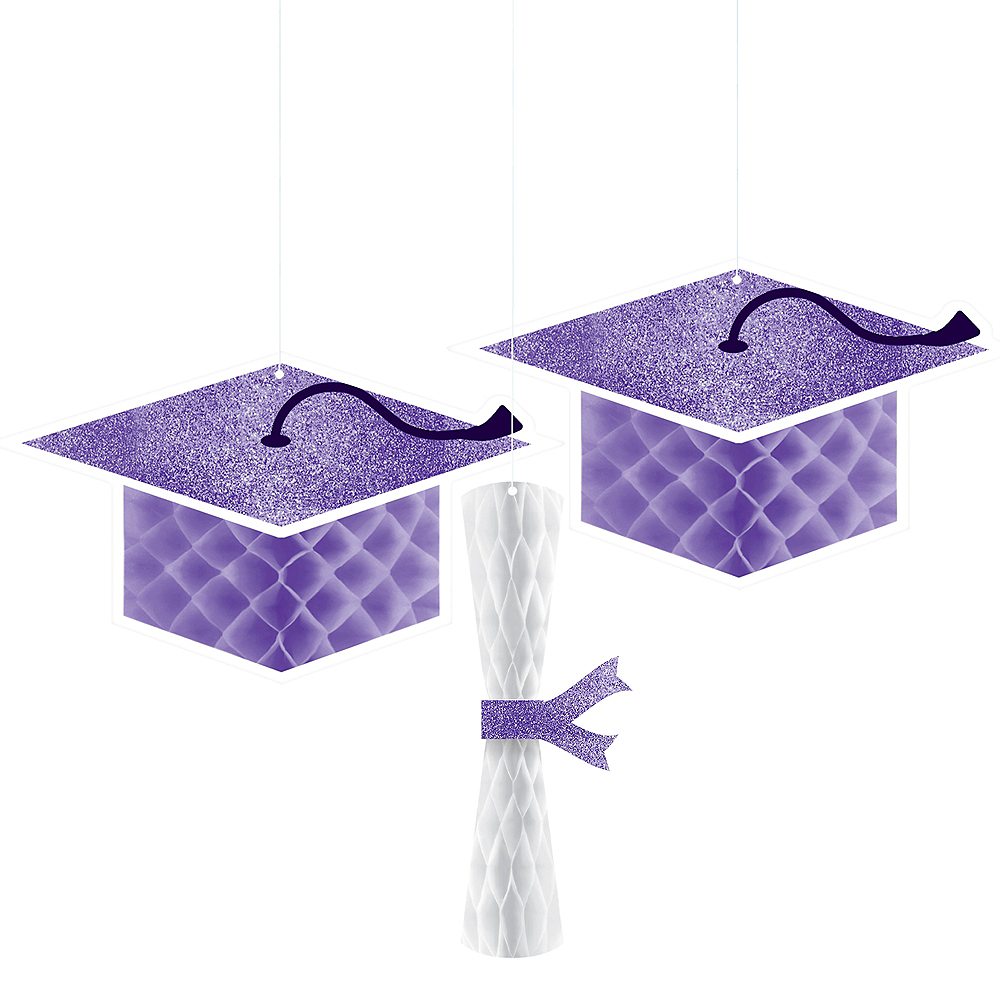 Glitter Purple Graduation Honeycomb Decorations 3ct Image #1