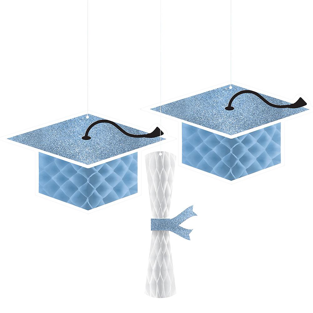 Nav Item for Glitter Powder Blue Graduation Honeycomb Decorations 3ct Image #1