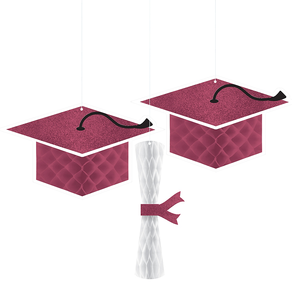 Glitter Berry Graduation Honeycomb Decorations 3ct Image #1