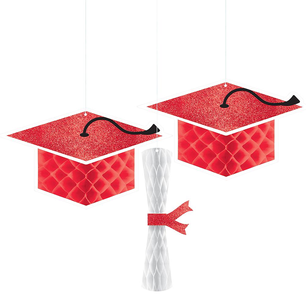 Glitter Red Graduation Honeycomb Decorations 3ct Image #1