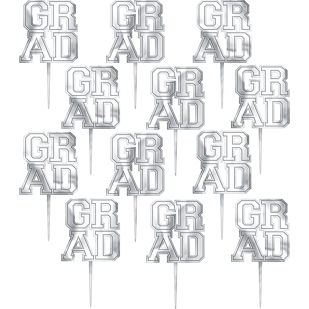 Silver Grad Cupcake Picks 10ct Image #1