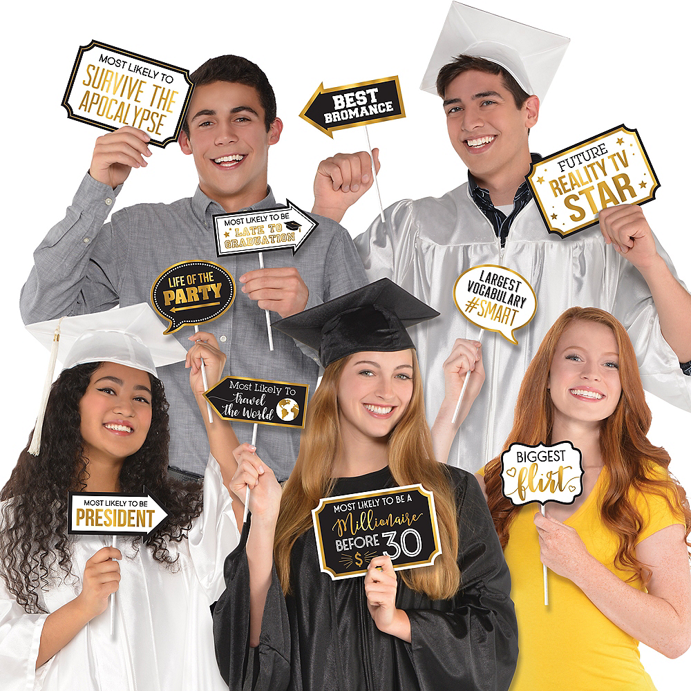 Black & Gold Graduation Photo Booth Props 13ct Image #1