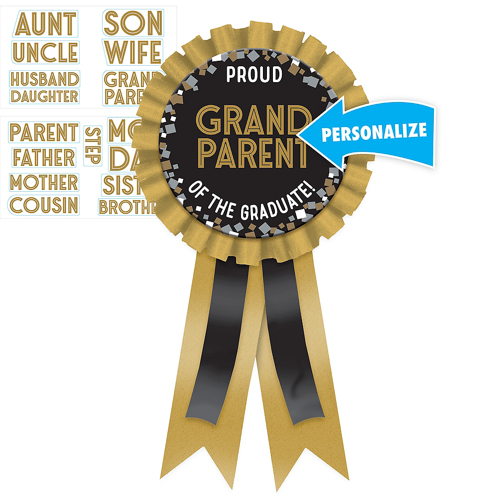 Customizable Black, Gold, & Silver Graduation Award Ribbon Kit Image #1