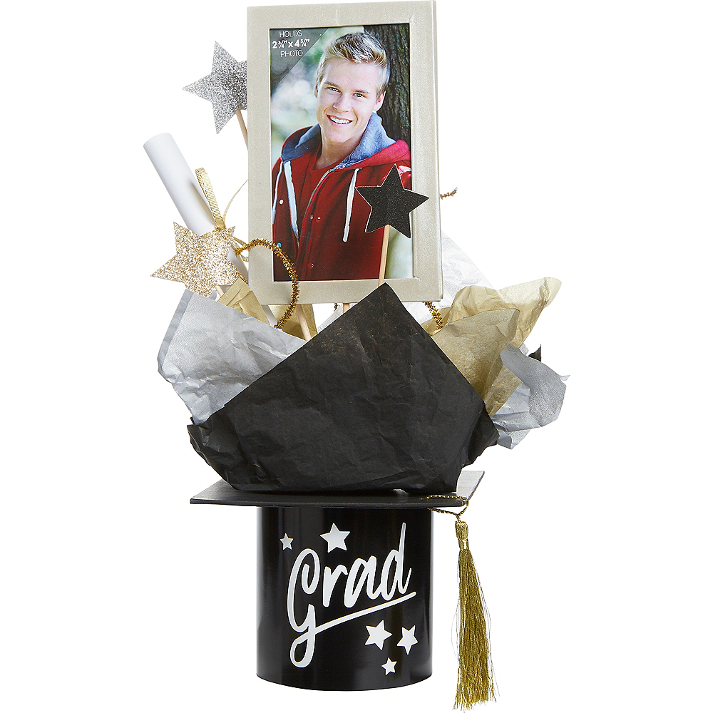 Personalized Black, Gold & Silver Grad Centerpiece Image #1