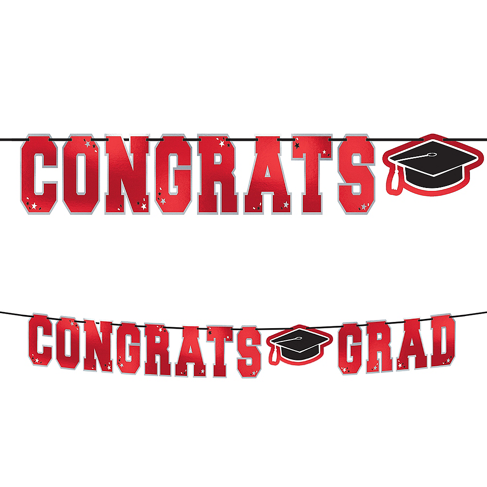 Red Congrats Grad Letter Banner Image #1