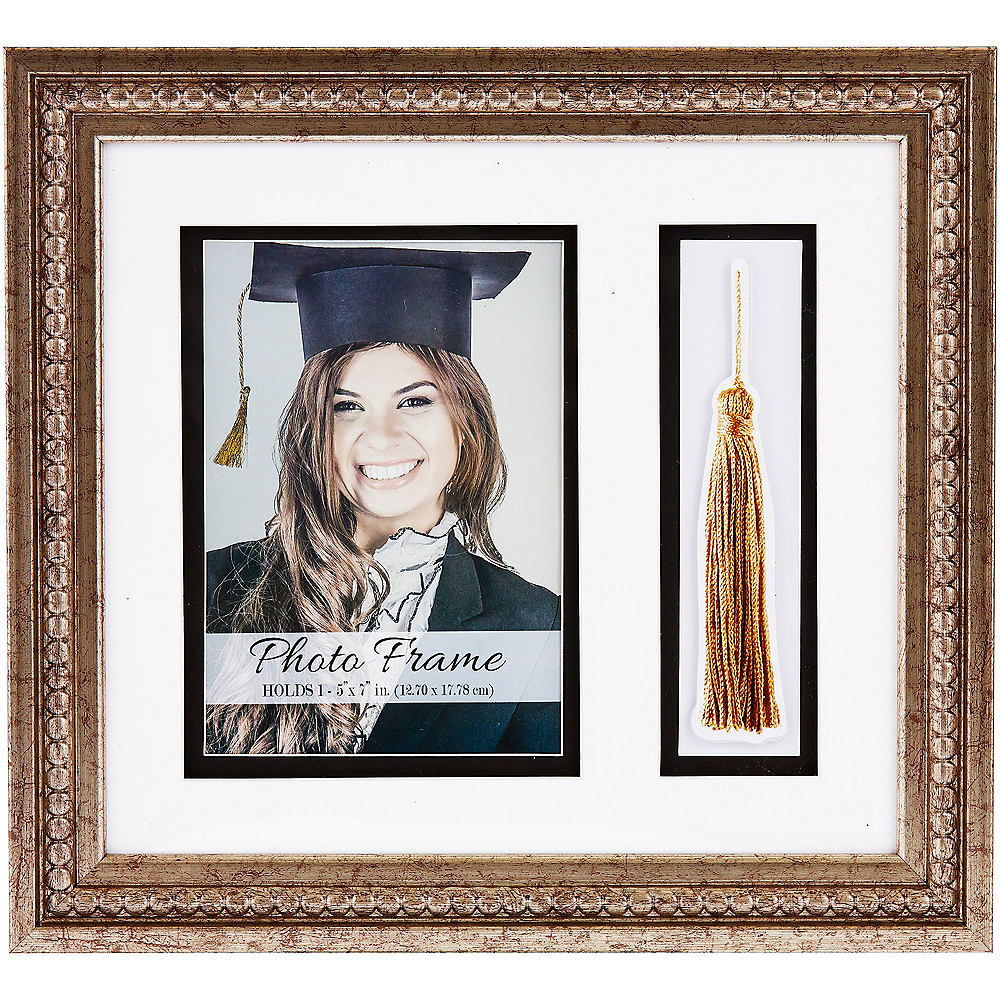 Gold Beaded Graduation Photo Frame & Tassel Holder Image #1