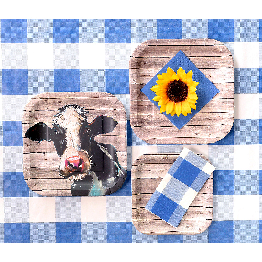 Blue & White Plaid Table Cover Image #3