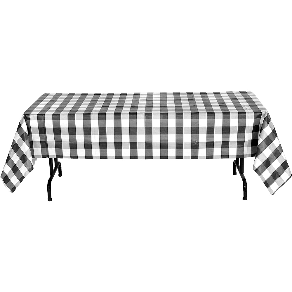 Black & White Plaid Table Cover Image #3