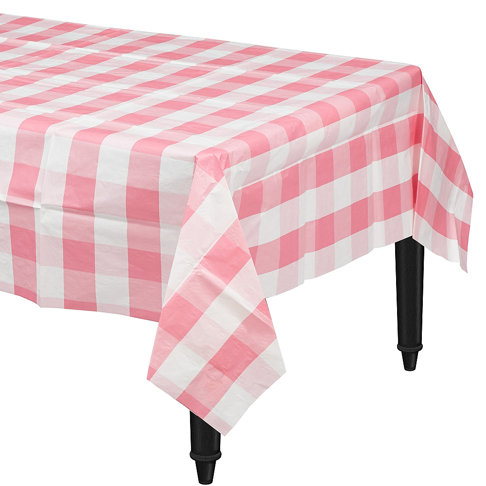 Pink & White Plaid Table Cover Image #1