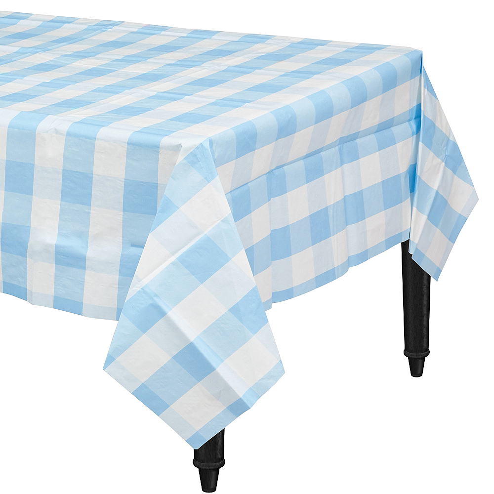Light Blue & White Plaid Table Cover Image #1