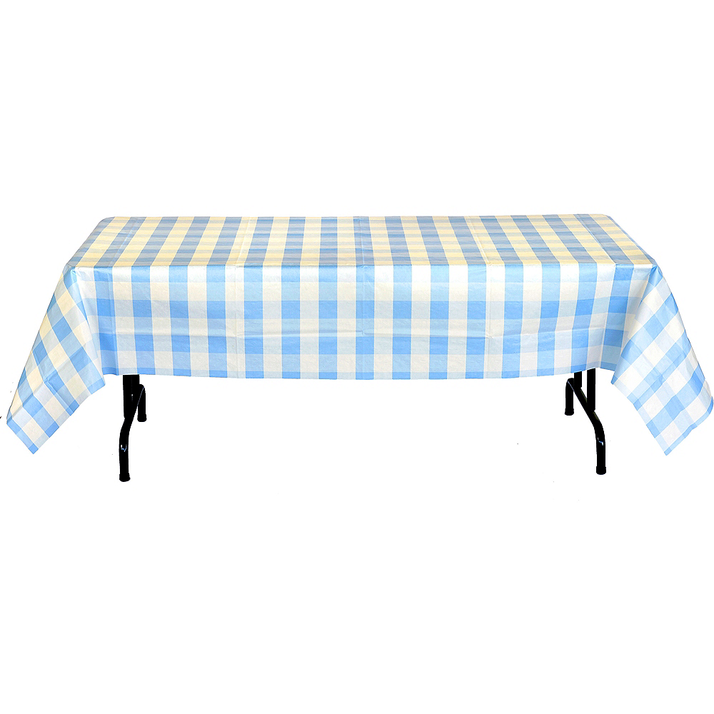 Light Blue & White Plaid Table Cover Image #3